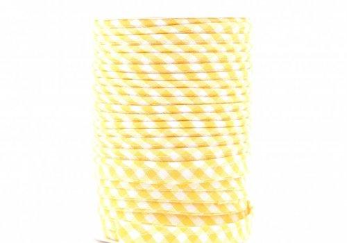 De Stoffenkamer Paspelband geel met ruitjes