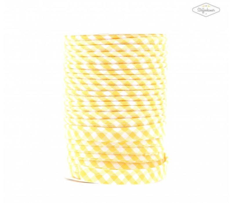 Paspelband geel met ruitjes