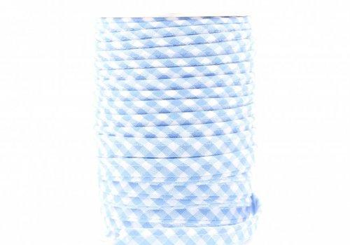 De Stoffenkamer Paspelband lichtblauw met ruitjes