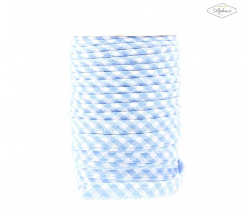 Paspelband lichtblauw met ruitjes