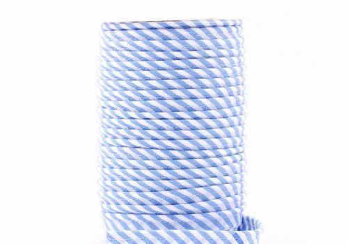 De Stoffenkamer Paspelband lichtblauw met streepjes
