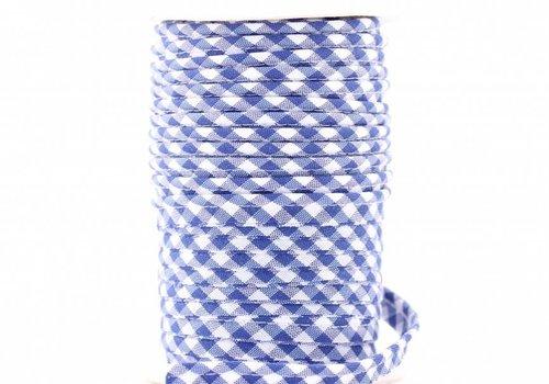 De Stoffenkamer Paspelband middenblauw met ruitjes