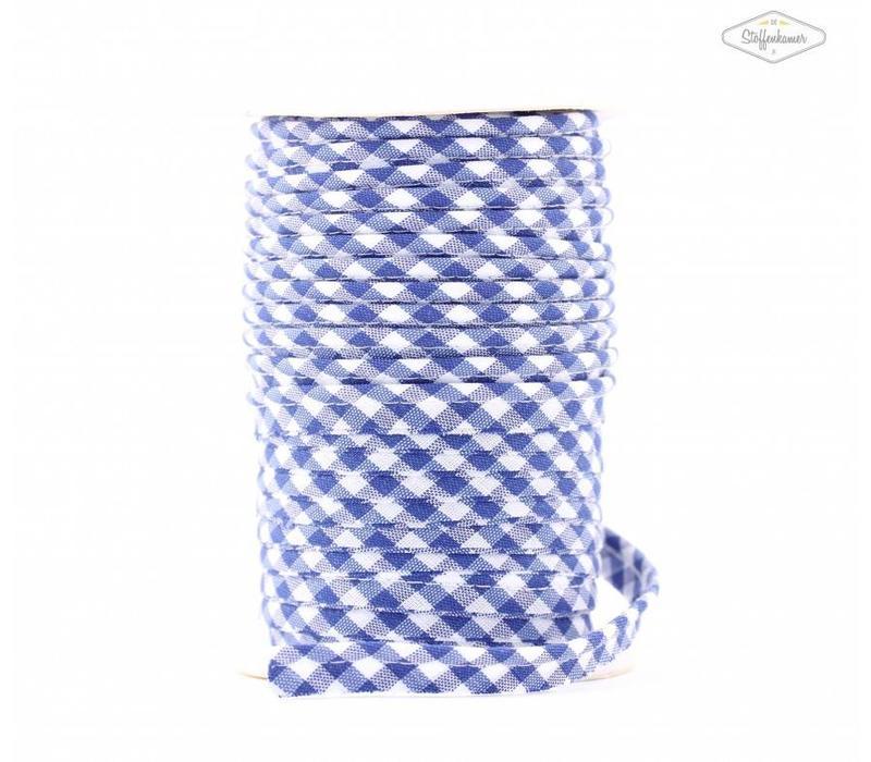 Paspelband middenblauw met ruitjes