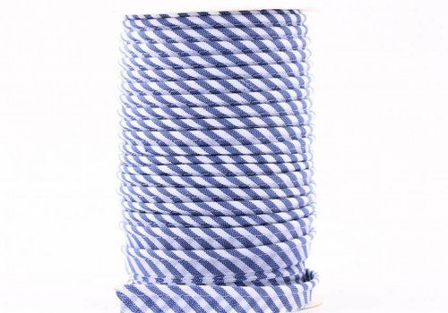 De Stoffenkamer Paspelband middenblauw met streepjes