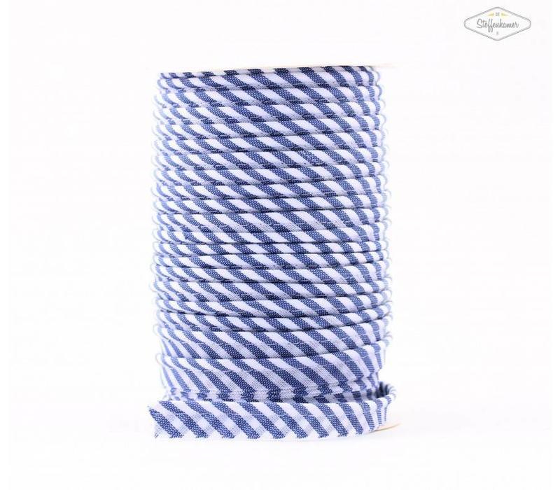Paspelband middenblauw met streepjes