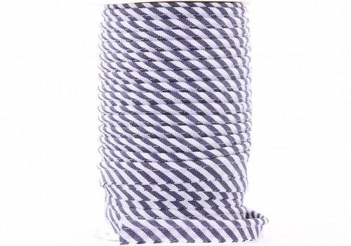 De Stoffenkamer Paspelband donkerblauw met streepjes
