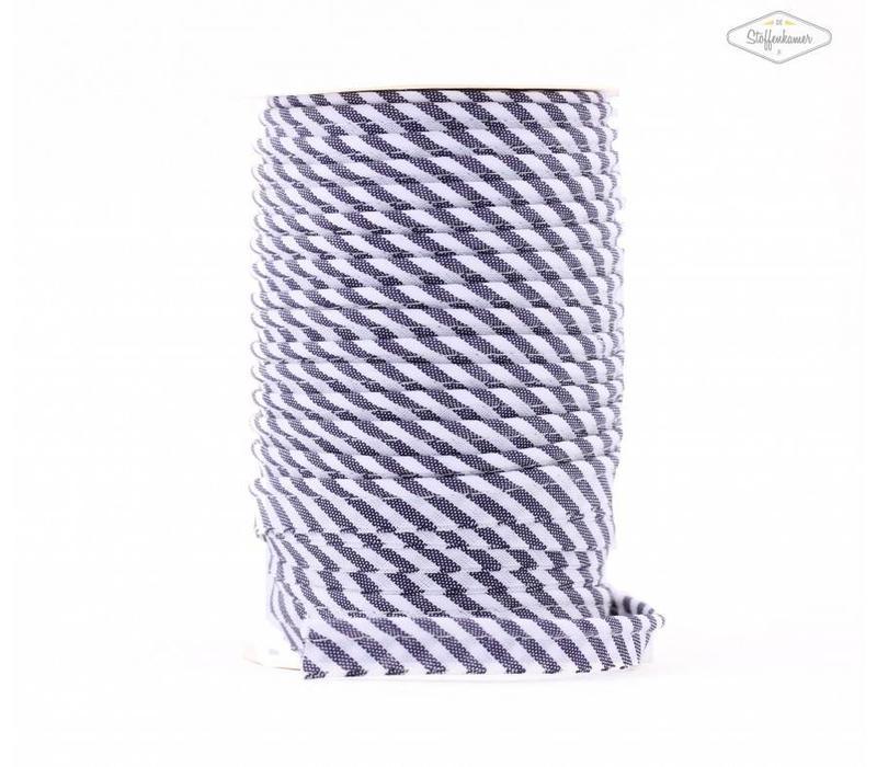 Paspelband donkerblauw met streepjes