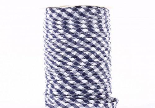 De Stoffenkamer Paspelband donkerblauw met ruitjes