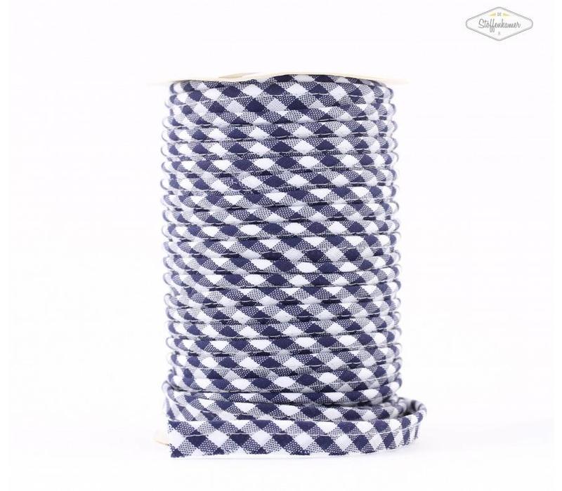 Paspelband donkerblauw met ruitjes