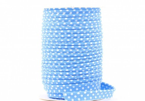 De Stoffenkamer Paspelband lichtturquoise met stipjes