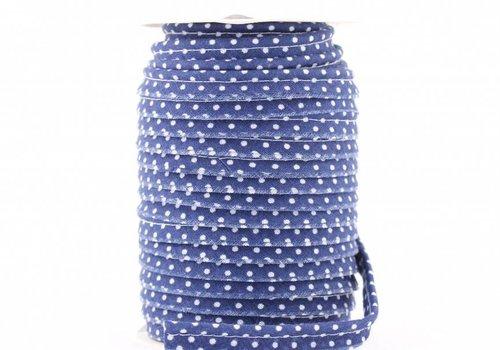 De Stoffenkamer Paspelband kobaltblauw met stipjes