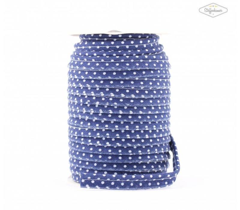 Paspelband kobaltblauw met stipjes