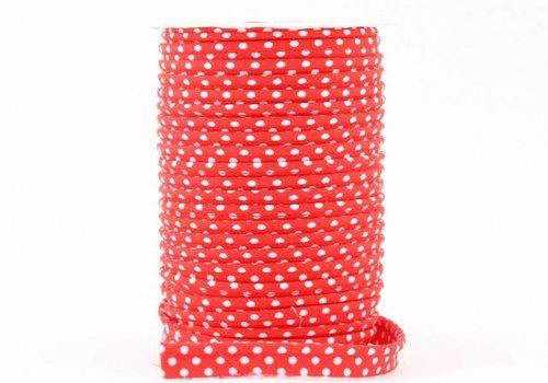 De Stoffenkamer Paspelband rood met stipjes