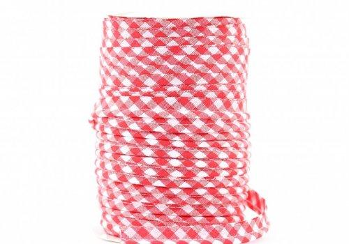 De Stoffenkamer Paspelband rood met ruitjes