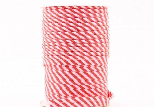 De Stoffenkamer Paspelband rood met streepjes