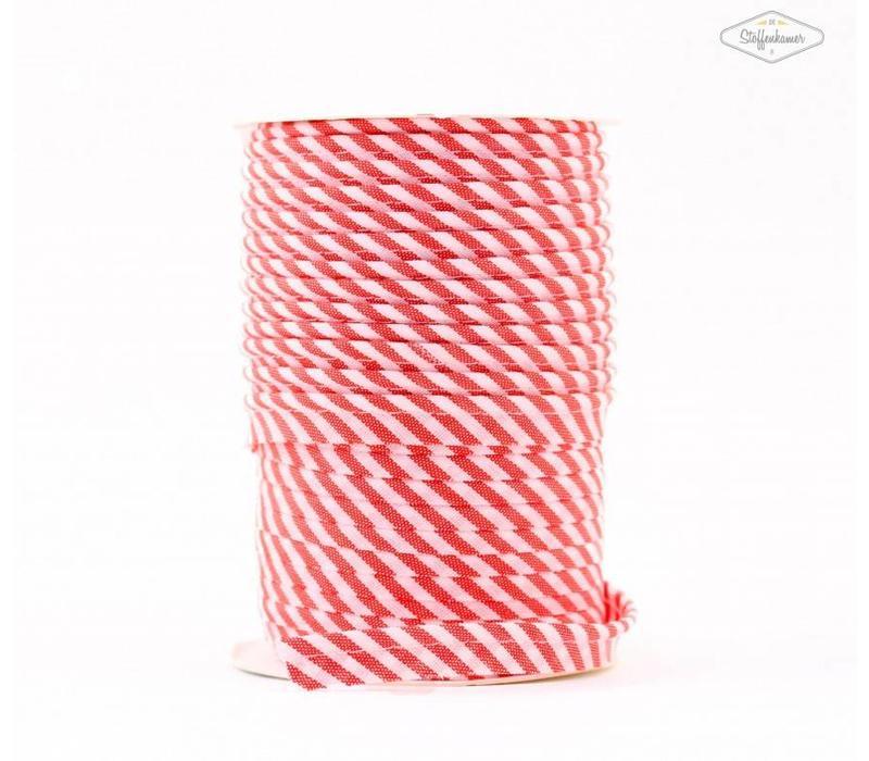 Paspelband rood met streepjes