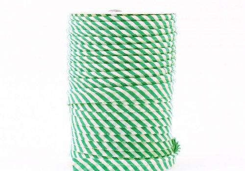 De Stoffenkamer Paspelband groen met streepjes