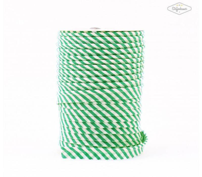 Paspelband groen met streepjes