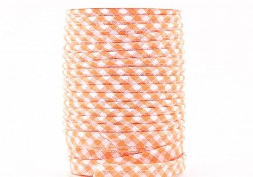 De Stoffenkamer Paspelband oranje met ruitjes