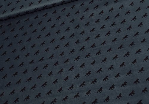 Cotton + Steel Rayon Lawn Quilt Horses Dark denim petrol