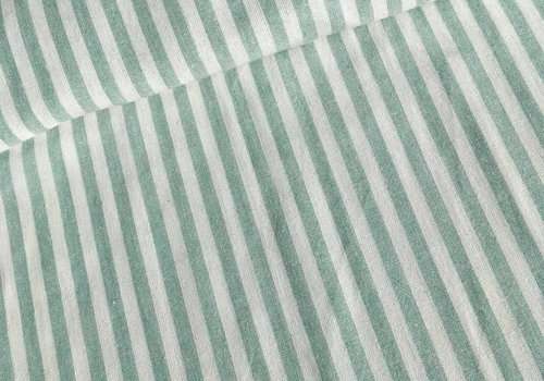 De Stoffenkamer Linen Mix Washed green stripes