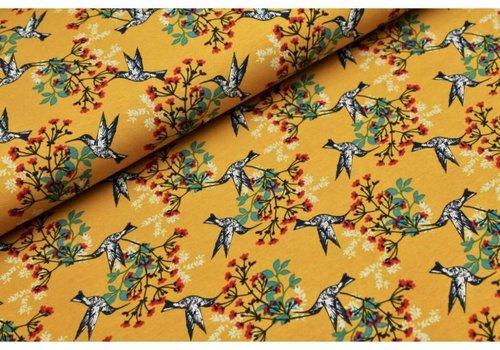 Megan Blue Fabrics Oker Birds