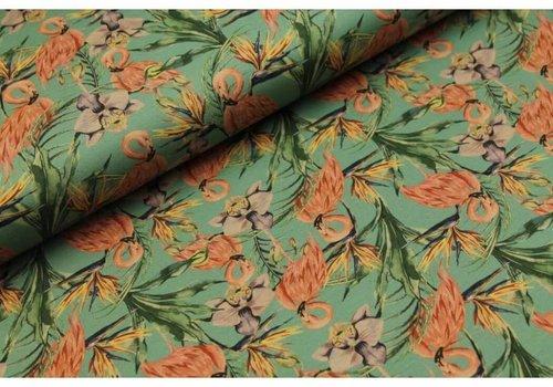 Megan Blue Fabrics Old Green Flamingo