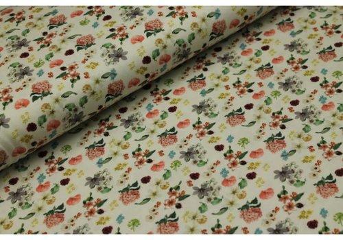 Megan Blue Fabrics Ecru Flowerfield