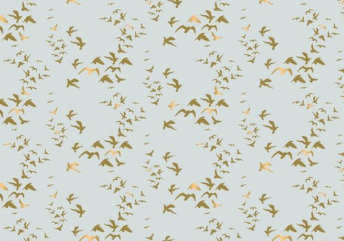Camelot Cottons mint birds gold metallic