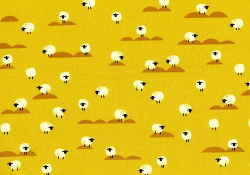 Cotton + Steel Cotton Panorama Sheep Mustard
