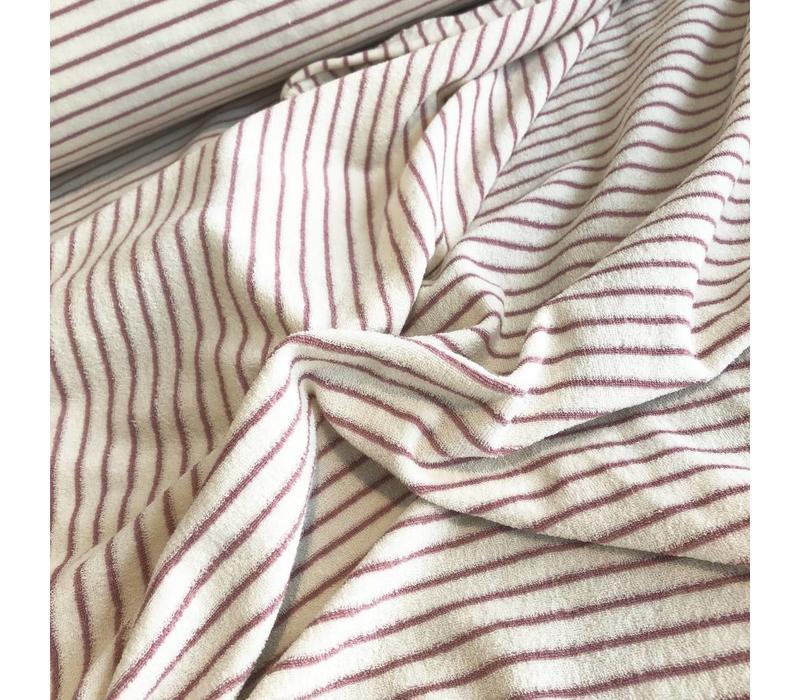 Rekbare badstof - spons stripes rozerood