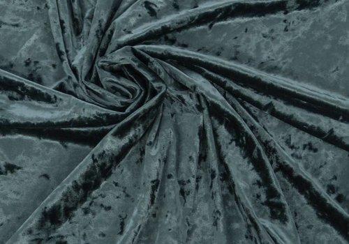 De Stoffenkamer Fluweel Seapine (grijzig petrol)