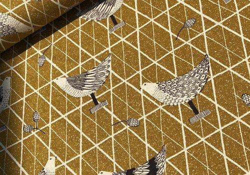De Stoffenkamer canvas birds mustard