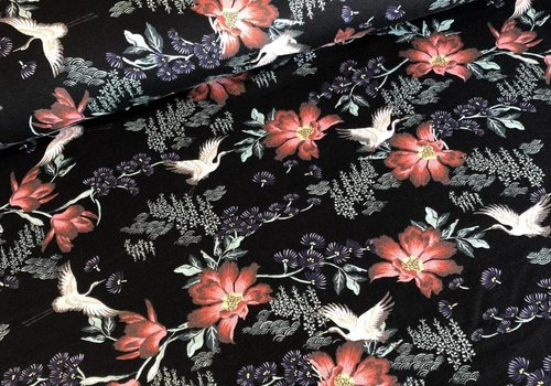 De Stoffenkamer Tricot cranes Black