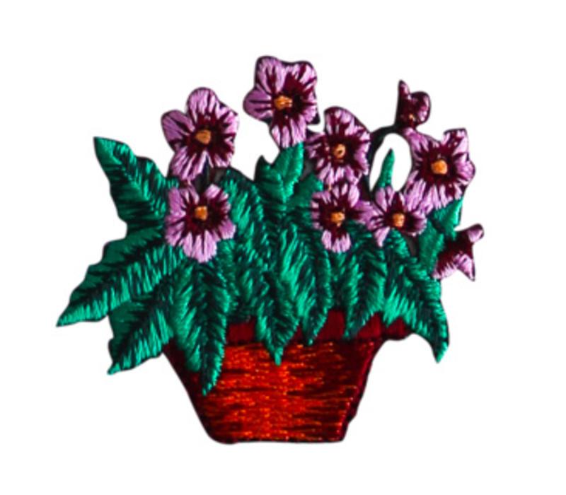 Strijkapplicatie bloemenmand
