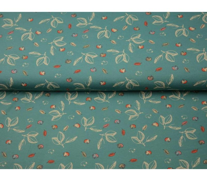 Tricot Turquoise Leafs