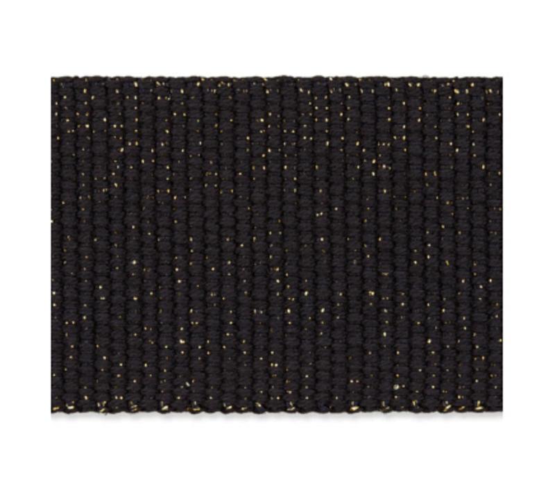 Tassenband zwart metallic goud