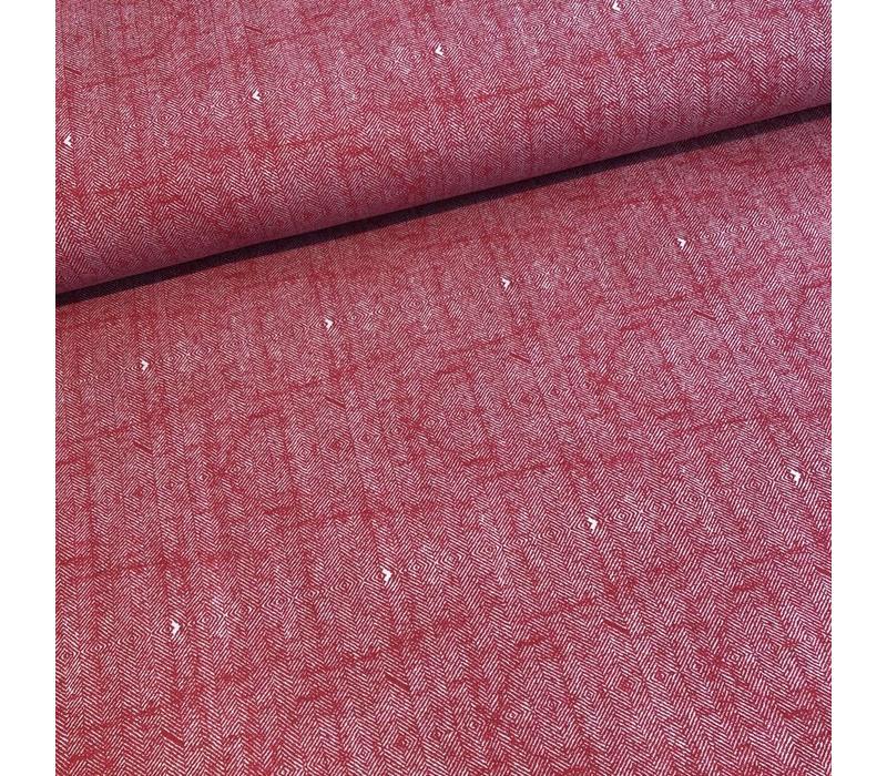 Sweater Herringbone tweed red