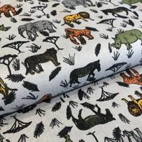 Katoen grey jungle animals