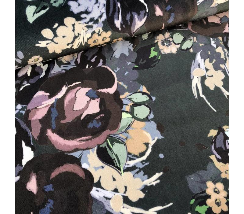 Fluweel Velvet flowers green