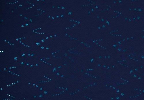 De Stoffenkamer Softshell blue metallic birds