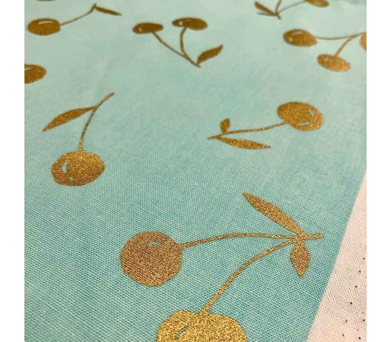 Canvas mint golden cherries