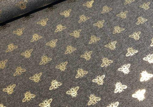 De Stoffenkamer Tricot Metallic bees grey melange