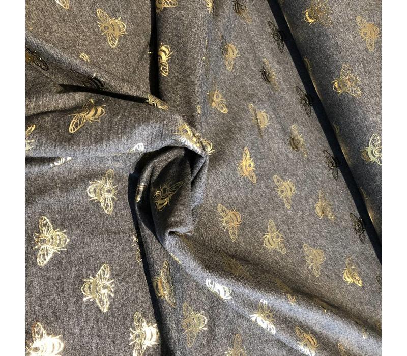 Tricot Metallic bees grey melange