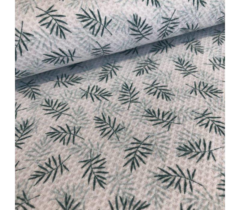 Katoen relief green leafs