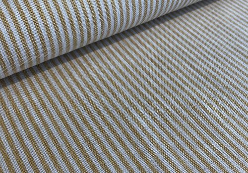 De Stoffenkamer Linen Mix Washed oker stripes