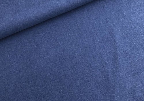 De Stoffenkamer Linen Mix Washed uni denimblue