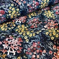 Viscose soft aquarel flowers