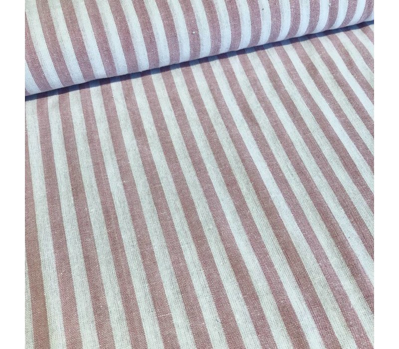 Linen Mix Washed pink stripes