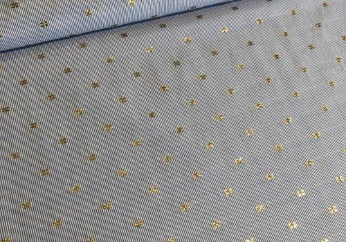 Katoen Chambray soft stripes gold
